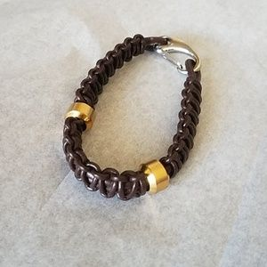 Men's Braided Bracelet with Gold Tone Beads